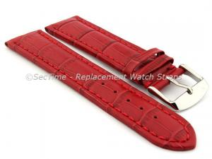 Leather Watch Strap CROCO RM Red/Red 28mm