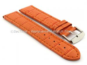 Leather Watch Strap CROCO RM Orange/Orange 20mm