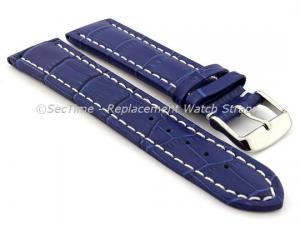 Leather Watch Strap CROCO RM Blue/White 22mm