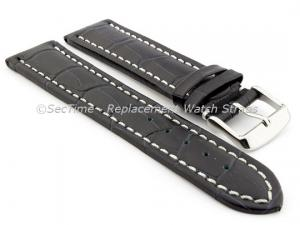 Leather Watch Strap CROCO RM Navy Blue/White 26mm