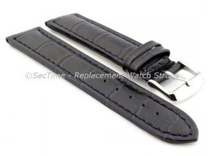 Leather Watch Strap CROCO RM Navy Blue/Blue 26mm