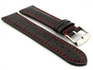 Leather Watch Strap CROCO RM Black/Red 22mm