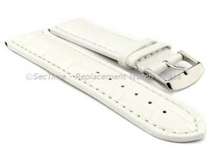 Leather Watch Strap CROCO RM White/White 26mm