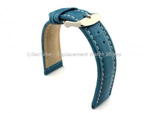 Leather Watch Strap CROCO RM Turquoise / White 20mm