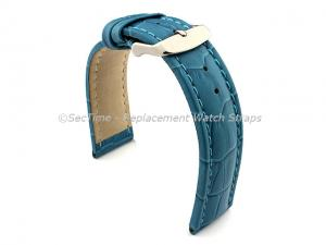Leather Watch Strap CROCO RM Turquoise / Turquoise 20mm
