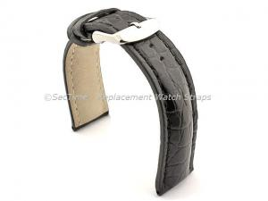 Genuine Crocodile Leather Watch Strap Band Mississippi Black/Black 20mm