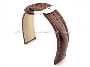 Genuine Crocodile Leather Watch Strap Band Mississippi Dark Brown/Brown 20mm