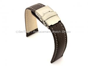 Genuine Leather Watch Strap Freiburg Deployment Clasp  Dark Brown / White 20mm