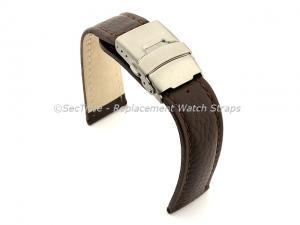 Genuine Leather Watch Strap Freiburg Deployment Clasp  Dark Brown / Brown 22mm
