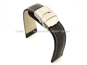 Genuine Leather Watch Strap Freiburg Deployment Clasp  Black / White 24mm