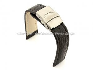 Genuine Leather Watch Strap Freiburg Deployment Clasp  Black / Black 20mm