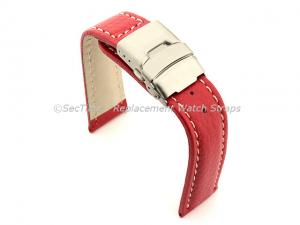 Genuine Leather Watch Strap Freiburg Deployment Clasp  Red / White 20mm