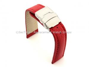 Genuine Leather Watch Strap Freiburg Deployment Clasp  Red / Red 22mm