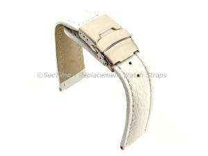 Genuine Leather Watch Strap Freiburg Deployment Clasp  White / White 20mm