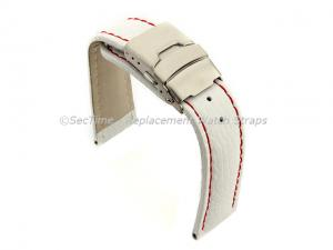 Genuine Leather Watch Strap Freiburg Deployment Clasp  White / Red 26mm