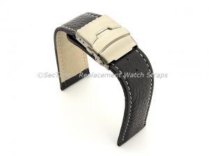 Genuine Leather Watch Strap Freiburg Deployment Clasp  Navy Blue / White 26mm