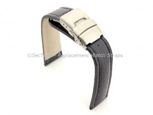 Genuine Leather Watch Strap Freiburg Deployment Clasp  Navy Blue / Blue 24mm
