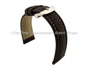 Watch Strap Band Freiburg RM Genuine Leather 28mm Dark Brown/White