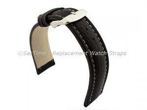 Watch Strap Band Freiburg RM Genuine Leather 28mm Black/White
