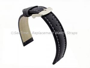 Watch Strap Band Freiburg RM Genuine Leather 28mm Navy Blue/White