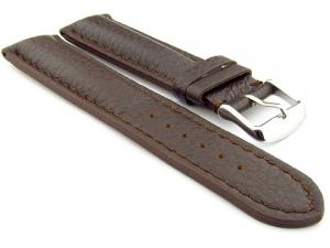 Padded Watch Strap Genuine Leather FREIBURG VIP Dark Brown/Brown 20mm