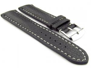 Padded Watch Strap Genuine Leather FREIBURG VIP Black/White 20mm