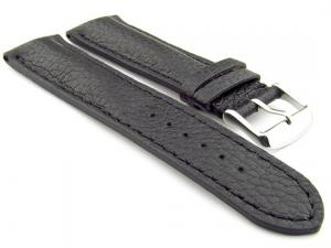 Padded Watch Strap Genuine Leather FREIBURG VIP Black/Black 22mm
