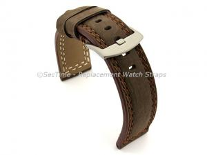 Waterproof Leather Watch Strap Galaxy Dark Brown 22mm