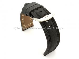 Waterproof Leather Watch Strap Galaxy Black 22mm