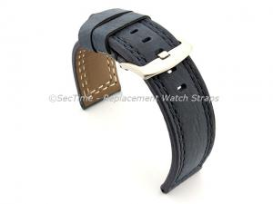 Waterproof Leather Watch Strap Galaxy Blue 22mm
