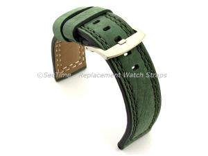Waterproof Leather Watch Strap Galaxy Green 22mm