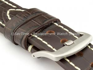Genuine Leather Watch Strap CROCO GRAND PANOR Dark Brown/White 24mm
