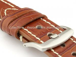 Genuine Leather Watch Strap CROCO GRAND PANOR Brown/White 22mm