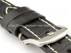 Genuine Leather Watch Strap CROCO GRAND PANOR Black/White 22mm