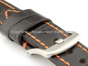 Genuine Leather Watch Strap CROCO GRAND PANOR Black/Orange 22mm