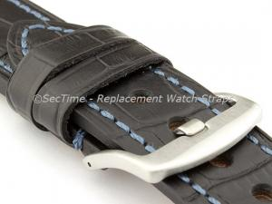 Genuine Leather Watch Strap CROCO GRAND PANOR Black/Blue 24mm