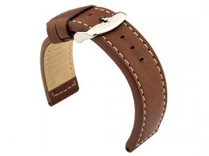 20mm Dark Brown/White - HAVANA Genuine Leather Watch Strap / Band