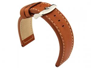 20mm Brown (Tan)/White - HAVANA Genuine Leather Watch Strap / Band