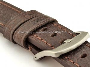 Replacement WATCH STRAP Luminor Genuine Leather Dark Brown/Brown 22mm
