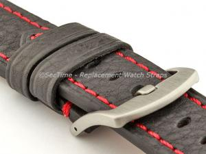Replacement WATCH STRAP Luminor Genuine Leather Black/Red 22mm