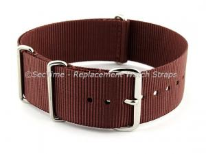 NATO G10 Watch Strap Military Nylon Divers (3 rings) Brown 24mm