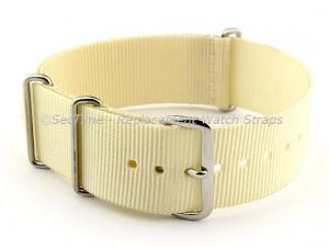 NATO G10 Watch Strap Military Nylon Divers (3 rings) Cream 18mm