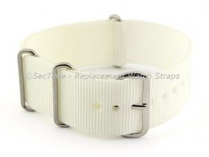 NATO G10 Watch Strap Military Nylon Divers (3 rings) White 24mm