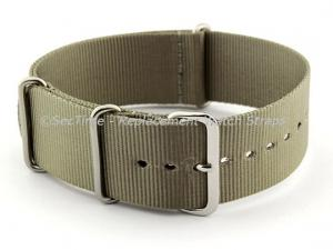 NATO G10 Watch Strap Military Nylon Divers (3 rings) Olive Green/Grey 24mm