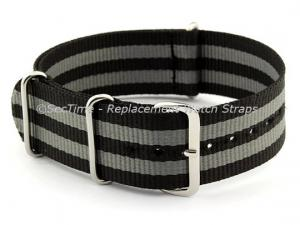 NATO G10 Watch Strap Bond-Style Military Nylon Divers Black/Grey 22mm
