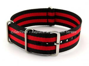 NATO G10 Watch Strap Military Nylon Divers (3 rings) Black/Red 22mm