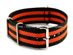 NATO G10 Watch Strap Military Nylon Divers (3 rings) Black/Orange 18mm