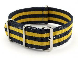 NATO G10 Watch Strap Military Nylon Divers (3 rings) Blue/Yellow 20mm