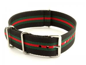NATO G10 Watch Strap Military Nylon Divers (3 rings) Black/Green/Red 20mm