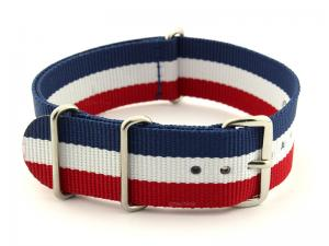 NATO G10 Watch Strap Military Nylon Divers 3 rings Blue/White/Red (France)22mm